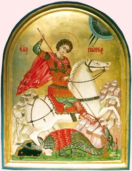 Icon painting of St. George killing the dragon by Vasiliki Papantoniou