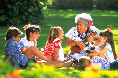 Hawaiian culture and story telling at Kā`anapali Beach Hotel.