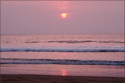 Sunset image is associated with healthy vacations.