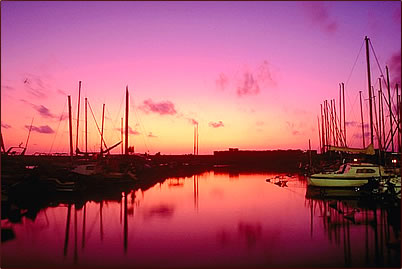 Sunset image with marina and boats.