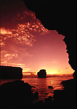 Lanai's Sweetheart Rock, Hawaii.