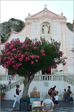 Taormina, Italy city plaza.