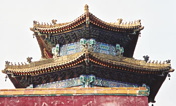 China temple reflects Chinese culture near Great Wall of China.