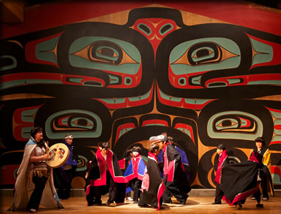 Traditional Tlingit dance performances in Sitka, Alaska demonstrate native heritage and present-day cultural creativity.