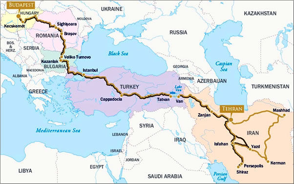 Map through five countries of Jewels of Persia train journey.
