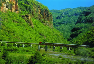 Nature pictures and train pictures in Mexico's Copper Canyon are part of rail travel.