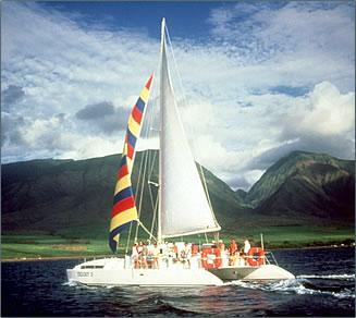 Trilogy Excursions catamaran cruises between West Maui and Lanai, Hawaii.