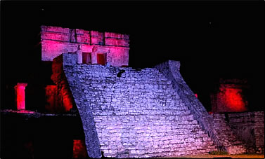 Tulum sound and light show, Riviera Maya Mexico attractions.