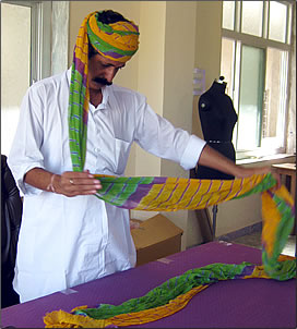 Turban winding demonstration in Rajasthan, India.