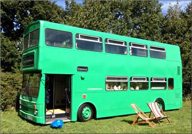 The Big Green Bus in Sussex, England has been converted into self-catering accommodation for six people.
