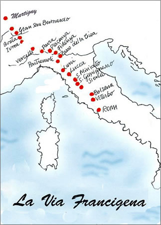 Map for Via Francigena: A Pilgrim Walking Trail in Italy.