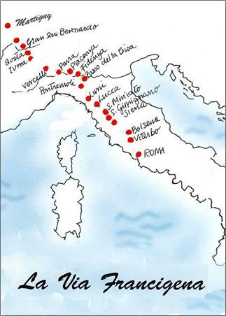 Map for Via Francigena: A Pilgrim Walking Trail in Italy.