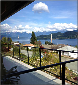 House sitting view in Gibsons Landing, British Columbia.