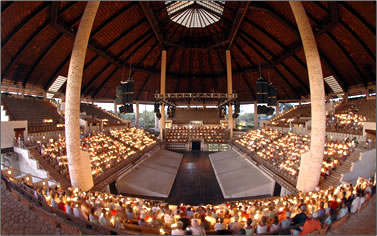 Performance amphitheater at Xcaret, Mexico, showcases Mayan and Mexican cultural heritage.