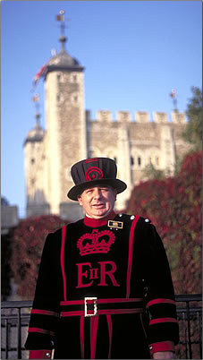 A Beefeater or Yeoman Warder at the Tower of London.