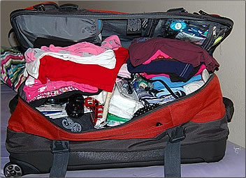 Overstuffed suitcase, what to pack on vacation.