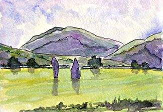 Postcard watercolor painting of stones of Ballymeanoch.