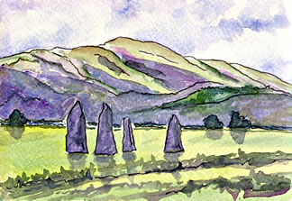 Watercolor postcard painting of stones of Ballymeanoch