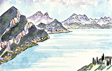 Postcard painting of Lake Como