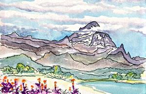 Artist, Charlene Brown, demonstrates many reasons for travelers to create their own watercolor postcards on vacation.