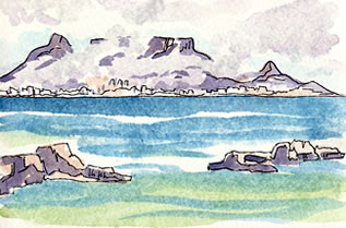 Watercolor painting of Table Mountain, South Africa
