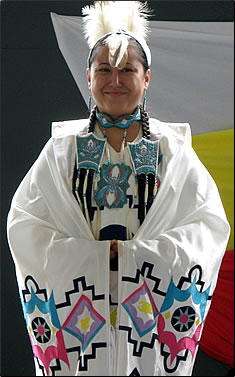 First Nations dancer in regalia: Aboriginal tourism in Ontario, Manitoulin Island aboriginal experiences.