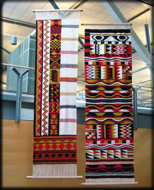 Aboriginal woven banners, Vancouver International Airport.