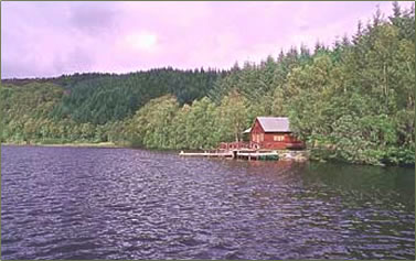 Boathouse on a Scottish Loch at the Aigas Field Centre.