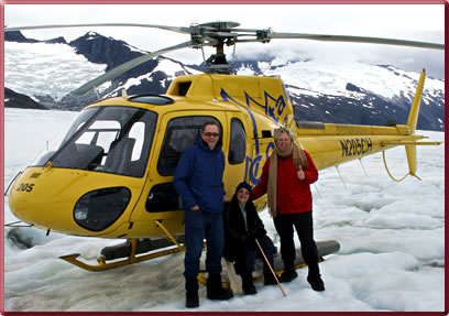 Valerie Grubb and her mother take a helicopter ride up the mendenhall Glacier, Juneau, Alaska.