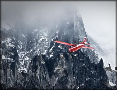 Wilderness photography: bush plane in Alaska Range.