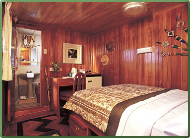 La Amatista ship cabin, International Expeditions cruise, Peru Amazon rivers.