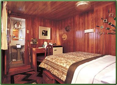 La Amatista ship cabin, International Expeditions cruise, Peru Amazon rivers.
