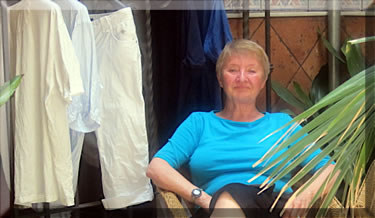 Author, Marianne Scott, contemplates her clean laundry as one good reason for renting a holiday apartment in Spain.