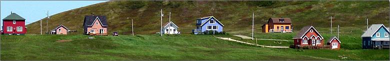 Colorful houses, Quebec Magdalen Islands travel.
