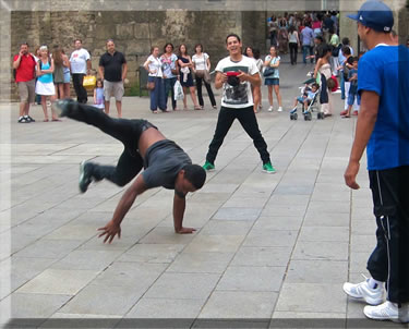 Break dancing exhibition on a Barcelona street.