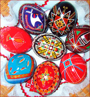 Decorated Easter eggs, Ukrainian tradition of Easter eggs.