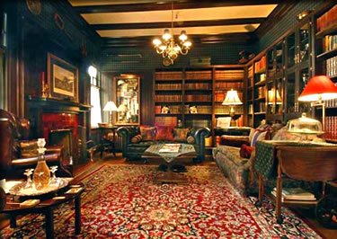 Beaconsfield Inn library where daily afternoon tea and a glass of sherry add to the guest conversation.