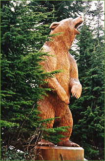 Atop Grouse Mountain, huge cedar carvings line walking trails.