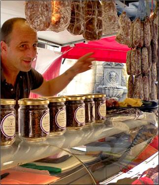 Bellinzona's Saturday food market, Ticino, Switzerland.