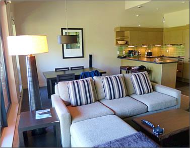 Living area and kitchen of Black Rock Oceanfront Resort, Ucluelet, B.C.
