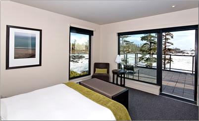 Bedroom and view of Black Rock Oceanfront Resort, Ucluelet, B.C.