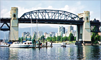 Vancouver's Burrard Bridge leads to Vancouver attractions, restaurants and accommodation.