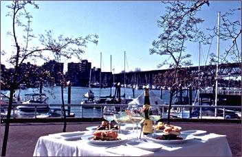 C Restaurant garden patio, seafood restaurant in Vancouver.