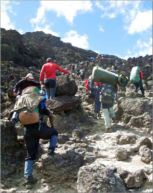 Mt Kilimanjaro hiking tours include some steep climbs with porters carrying most of the gear.