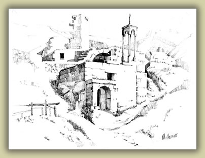 Sketch of Byzantine monastery in Cappadocia, Turkey.
