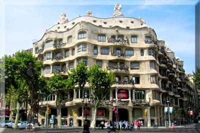 Antoni Gaudi's Casa Mila apartment building, Barcelona, Spain.