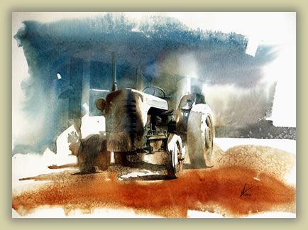 Painting of abandoned tractor in China rural area.
