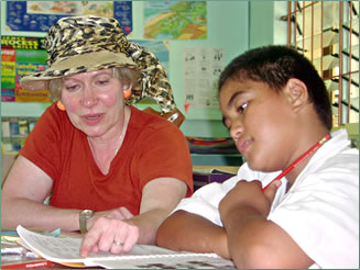 Literacy training in the Cook Islands is a volunteer vacation.