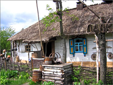 Ukrainian rural life, country cottage.