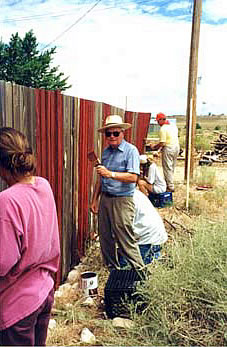 Fence painting on a working holiday in New Mexico.